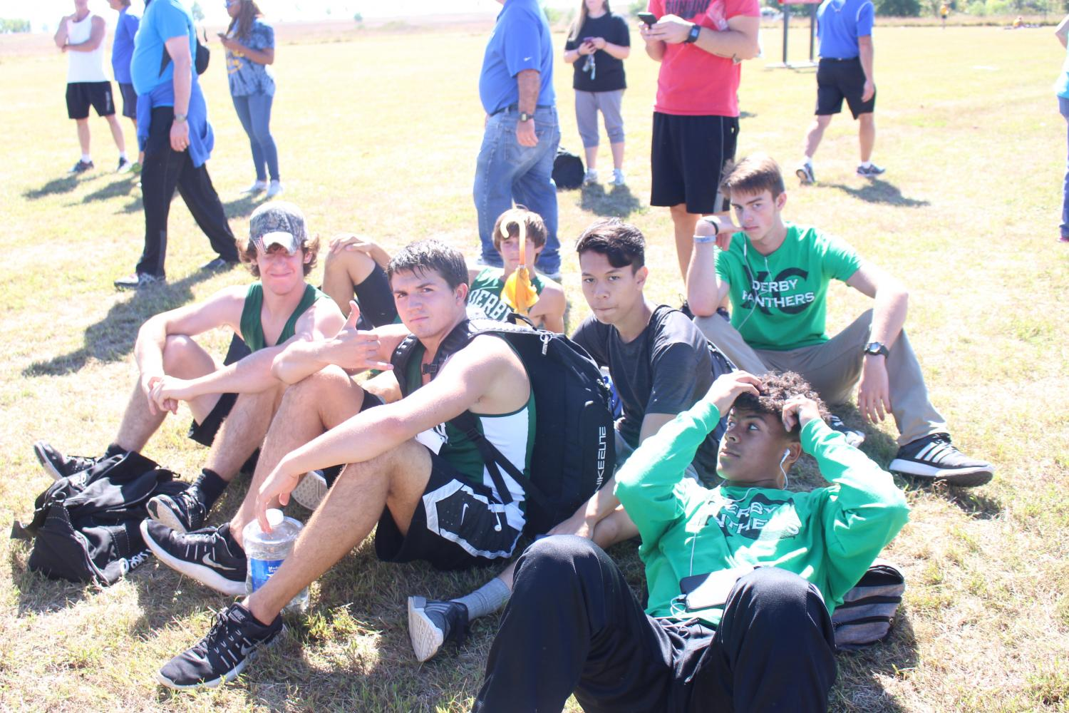 The cross country team waits for all the awards to be passed out at the El Dorado meet on Saturday, Oct. 7th.