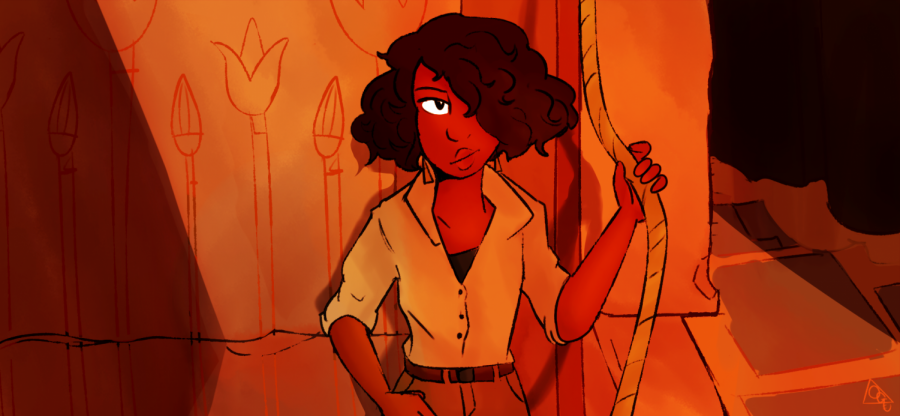 A screenshot redraw from the trailer of In the Valley of Gods, a game to be released in 2019 by Campo Santo.