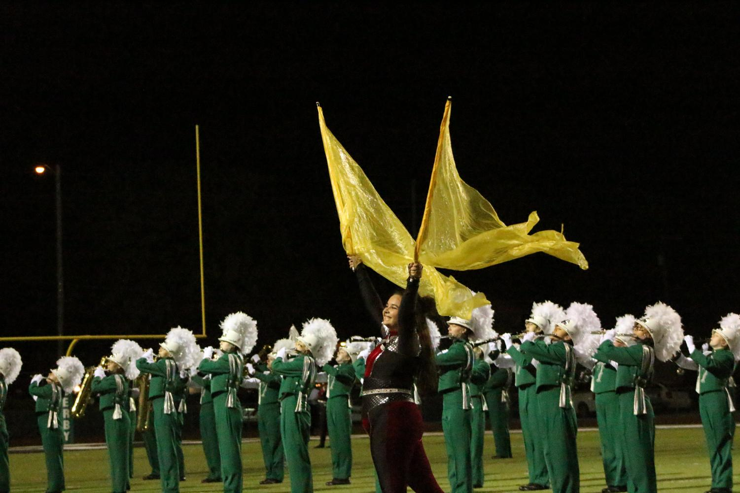 Color+guard+performs+their+show+%22Rebel%22+for+the+first+time.