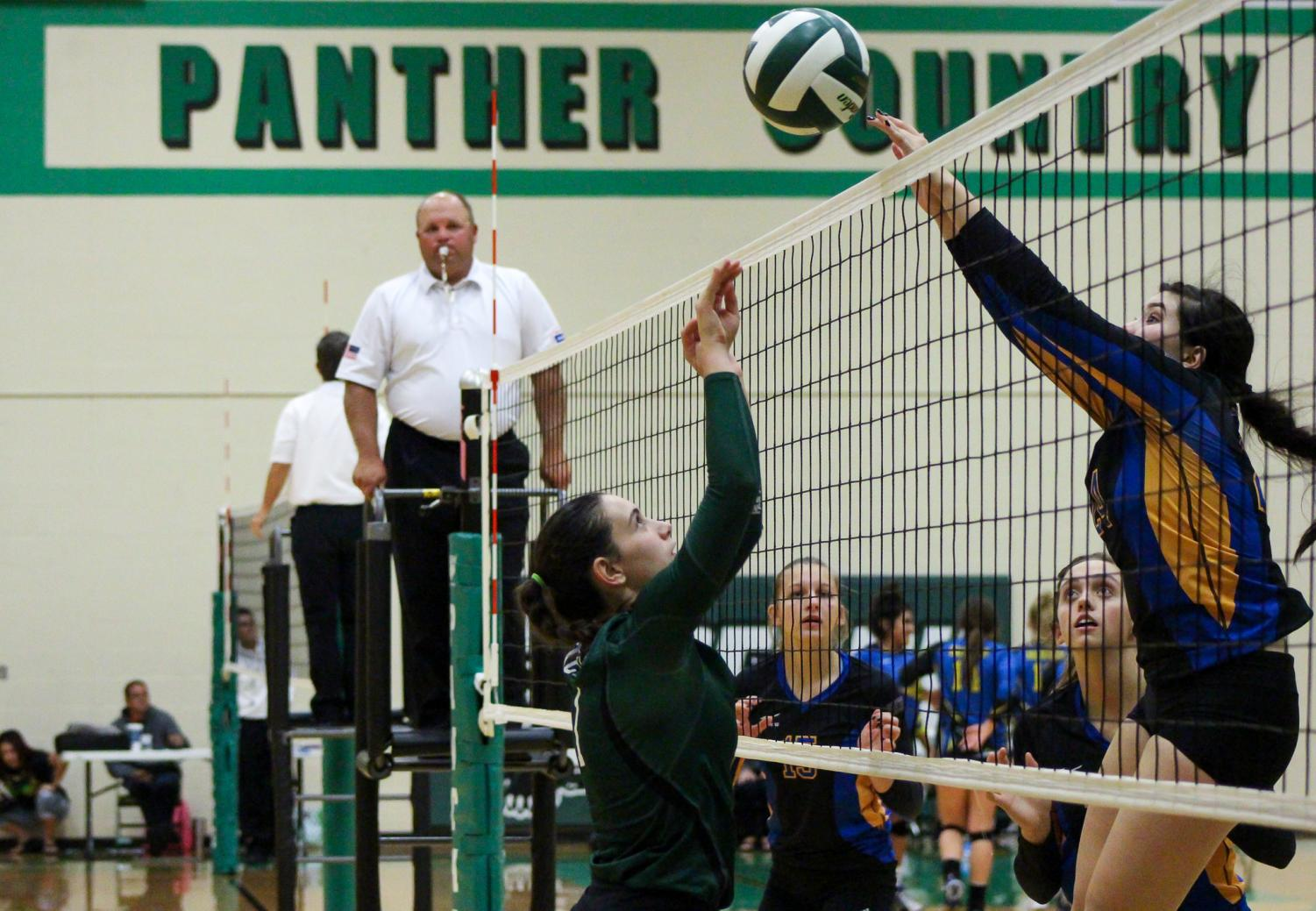 Junior Sydney Nilles jumps up to block a spike.