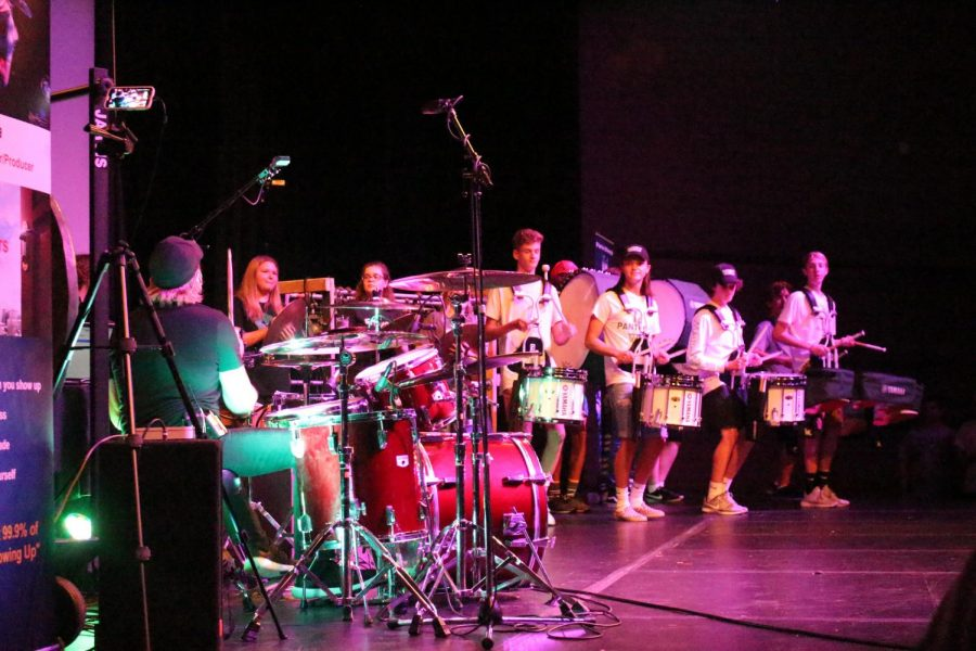 Tesla drummer performs for freshman assembly (Photos by Emma Baxter)