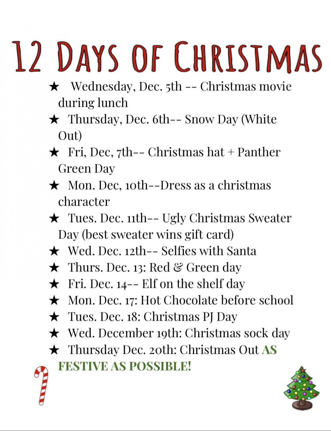 12 Days of Christmas spirit week spirit days