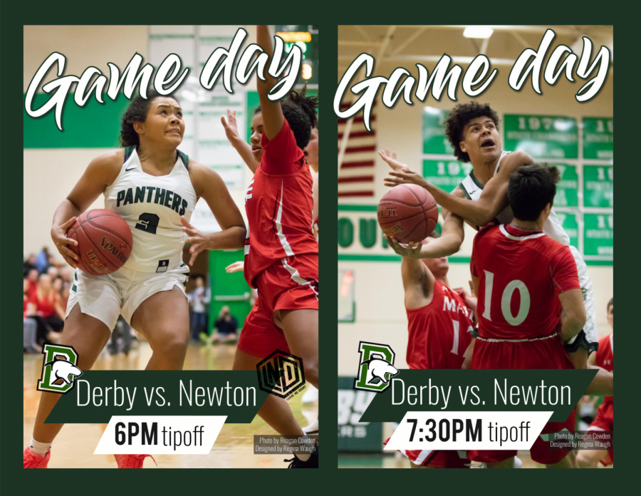 Senior+Aliyah+Meyers+and+junior+Nick+Bonner+go+for+layups.+Photos+by+Reagan+Cowden.+Designs+by+Regina+Waugh.