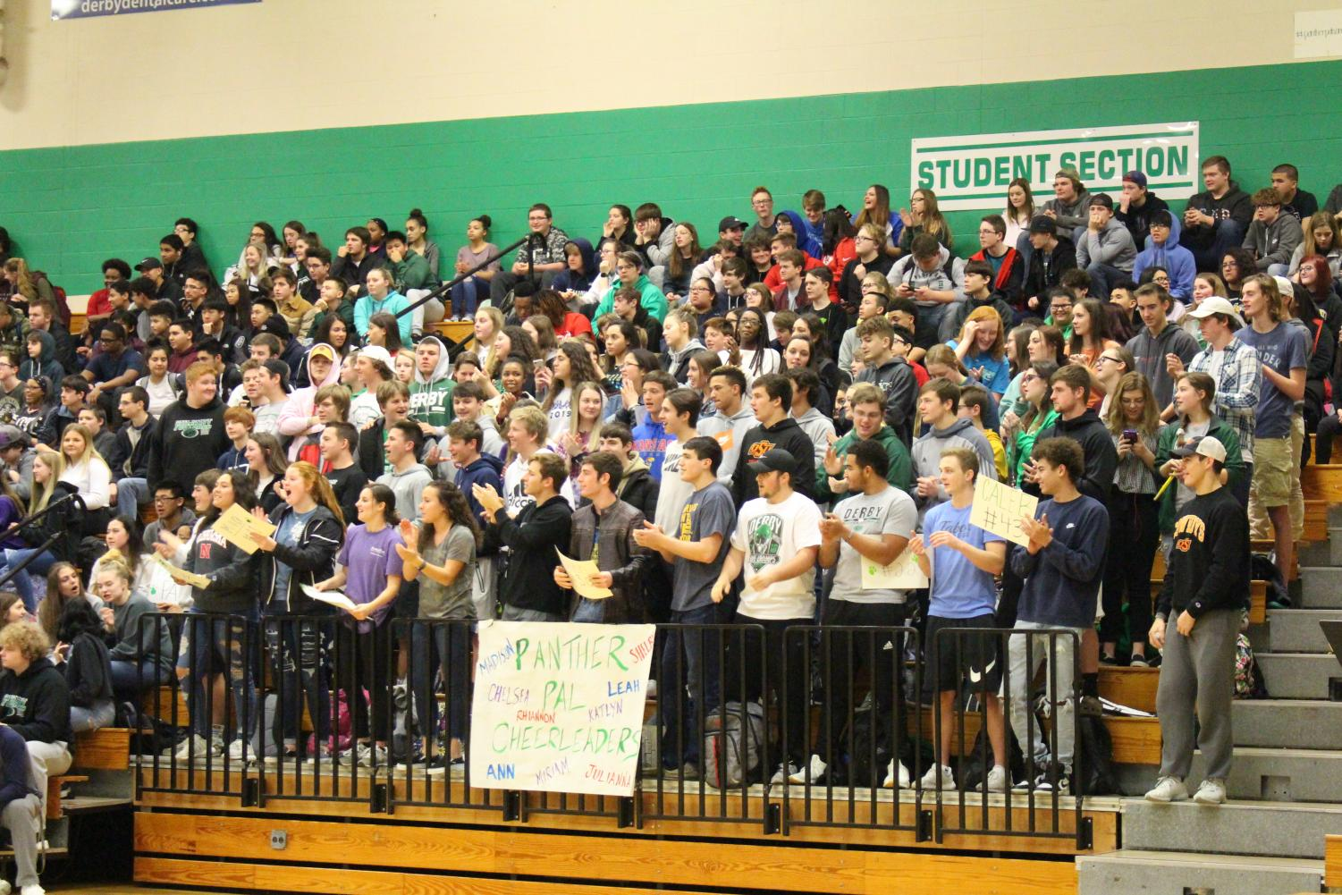 The+student+section+cheers+for+the+Panther+Pal%27s+basketball+team+as+they+play+against+Maize
