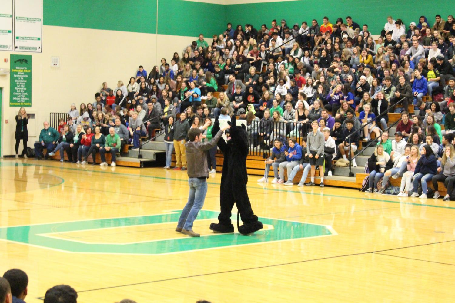 Senior+Cooper+Ross+and+the+Panther+mascot+high+five+in+the+middle+of+the+court