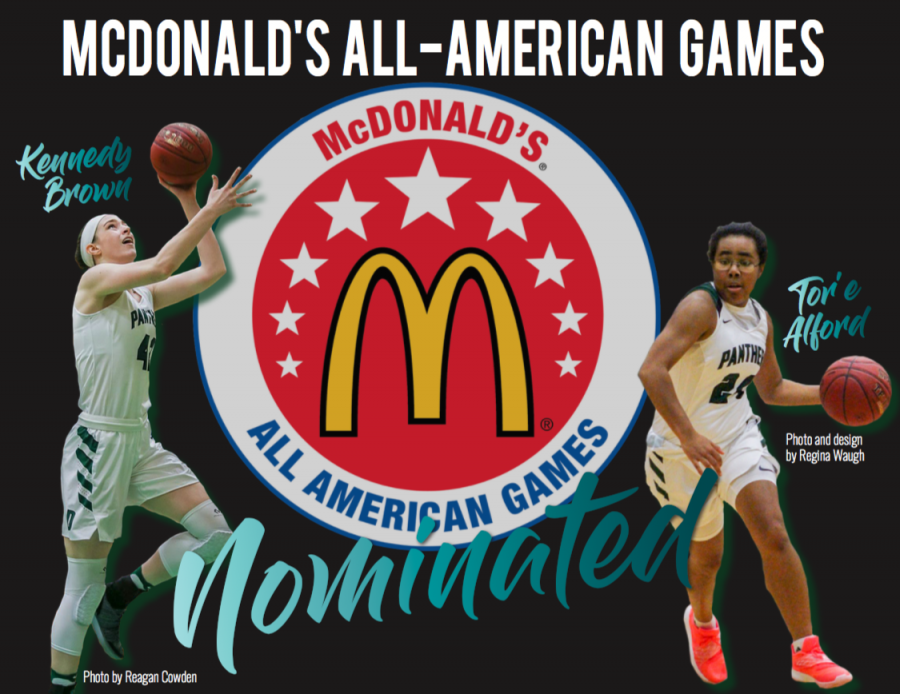 Girls+basketball+seniors+Kennedy+Brown+and+Tor%27e+Alford+have+been+nominated+for+the+McDonald%27s+All-American+Games.+Photos+by+Reagan+Cowden+and+Regina+Waugh.+Design+by+Regina+Waugh.