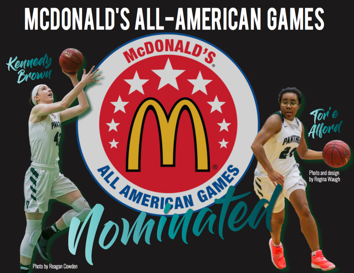 Girls basketball seniors Kennedy Brown and Tor'e Alford have been nominated for the McDonald's All-American Games. Photos by Reagan Cowden and Regina Waugh. Design by Regina Waugh.