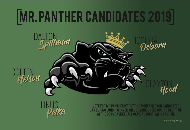 2019 Derby High Mr.Panther candidates. Designed by Regina Waugh.