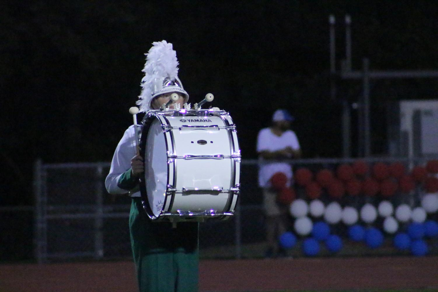 A+percussionist+performs+during+the+halftime+show