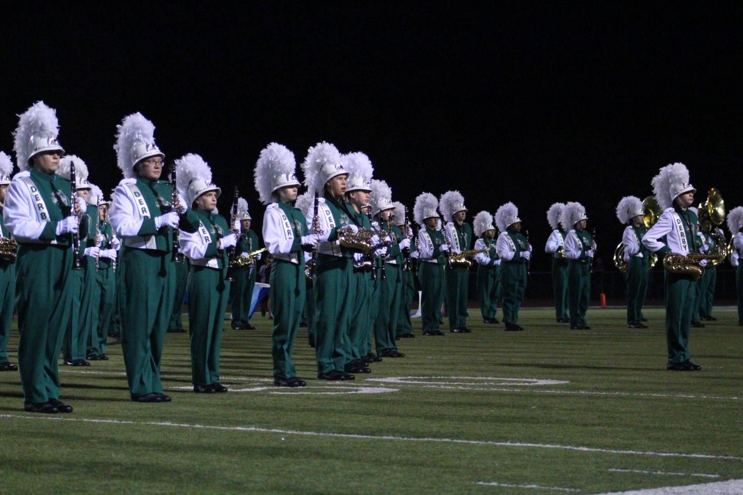 The+Derby+Panther+Marching+Band+performs+at+halftime