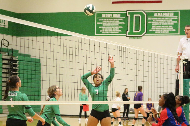 Senior+Jalen+Keener+jumps+to+spike+the+ball