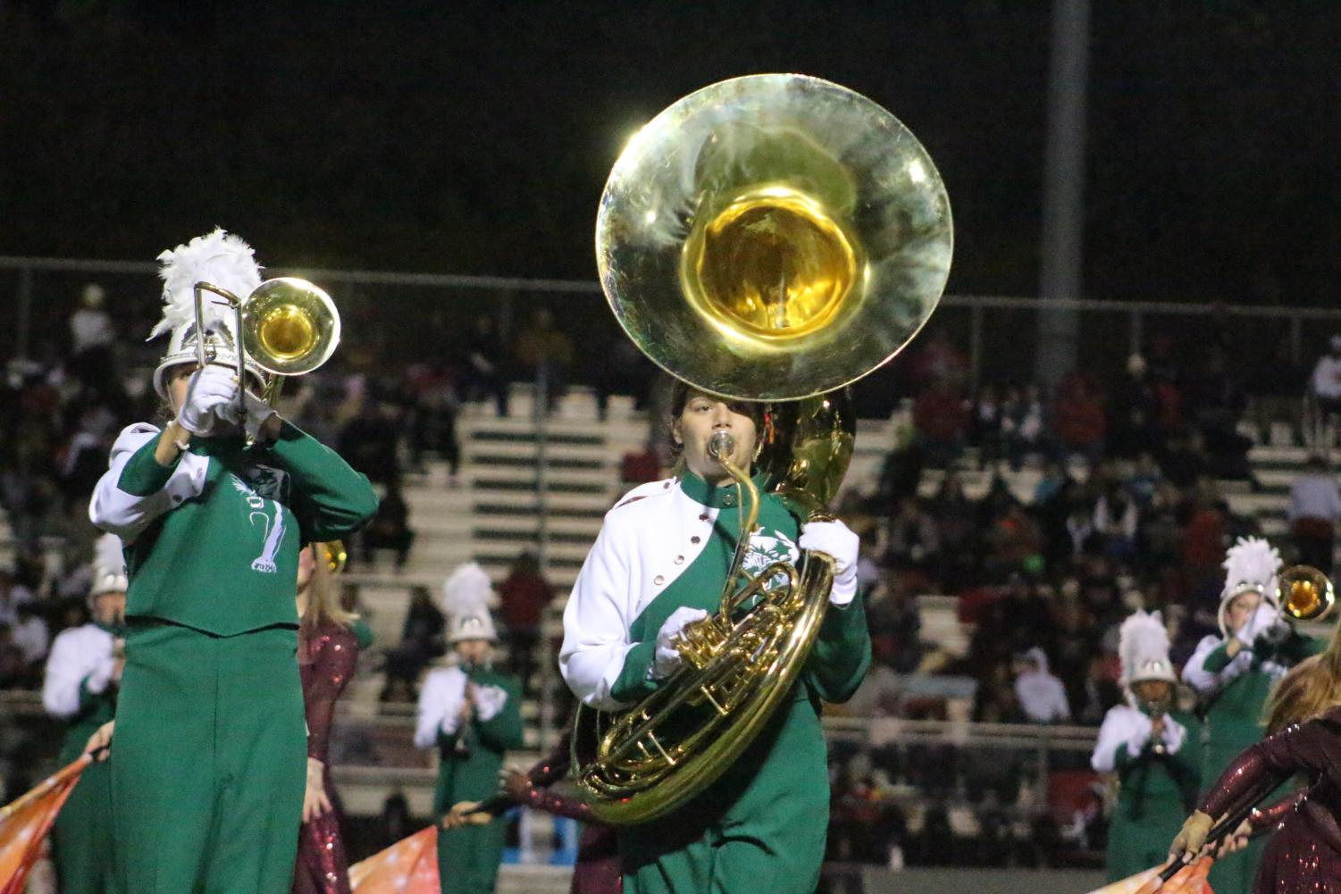 A+sousaphone+player+performs+during+halftime
