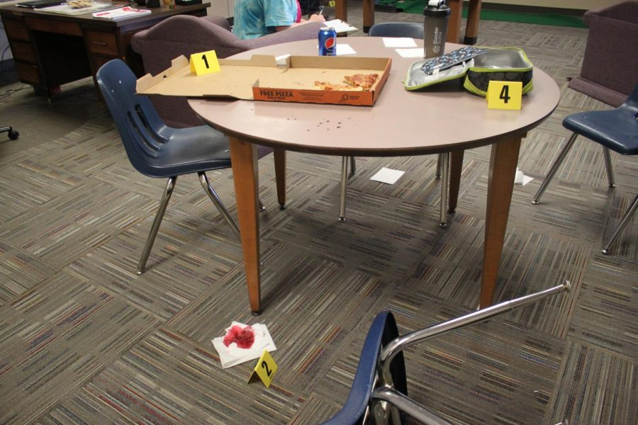 Crime scene in Officer Carlson's room