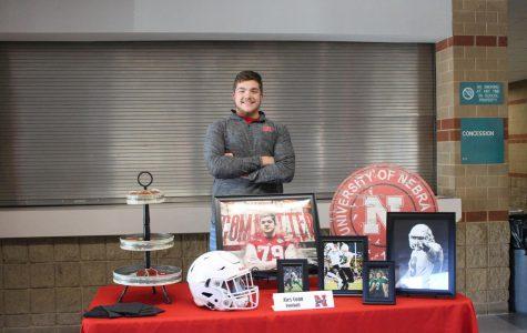 Alex Conn at his Nebraska themed table