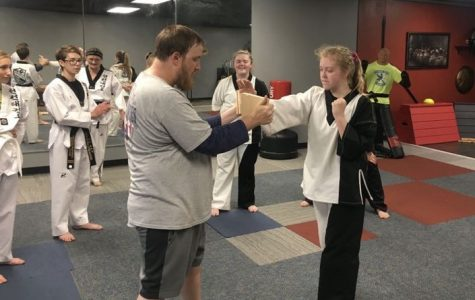 Senior Cheyenne Thomas  practices karate while her sister sophomore Christina Thomas watches.