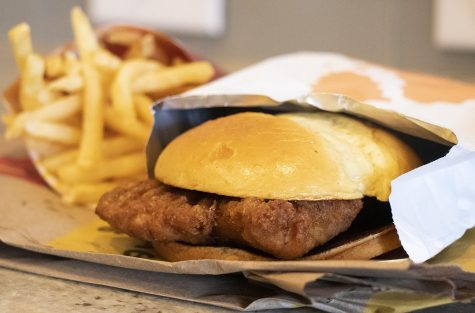 """The new """"crispy chicken"""" sandwhich from McDonald's. (Photo by Kyle DeVault)"""